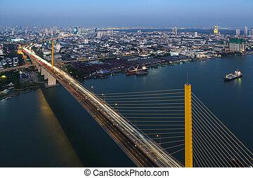 Bangkok Expressway and Rama IX bridge city scape top view, Thailand