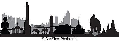 bangkok, fahne, thailändisch, skyline
