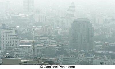 bangkok, gris, brumeux, en ville, thaïlande, jour