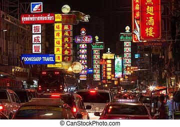 bangkok, -, grudzień, 31:, zajęty, yaowarat, droga, w,...