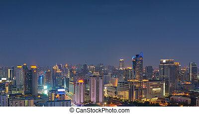 bangkok, horizonte cidade, noturna, tailandia