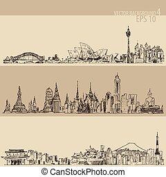bangkok, ilustración, tokio, mano, dibujado, sydney
