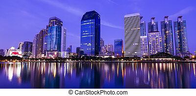 Bangkok in the night with building