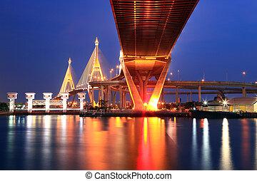 Mega Bhumibol Industrial Ring Bridge at dusk in Thailand. The bridge located at Bangkok harbor.