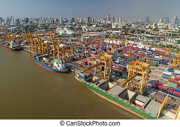 bangkok, industriel, aérien, expédition, thaïlande, port, vue