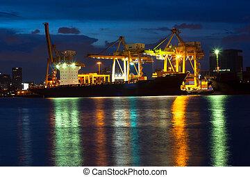bangkok, industriel, port, expédition, thaïlande