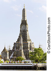 BANGKOK - JULY 3: View of Wat arun temple from ferry boat on cha