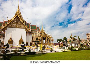 bangkok., kaeo, palacio, phra, magnífico, tailandia, wat