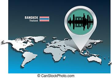 bangkok, landkarte, skyline, stift