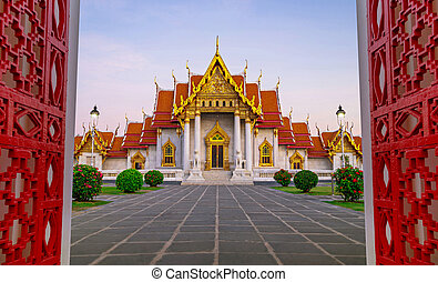 bangkok, marmo, benchamabophit, tailandia, wat, tempio