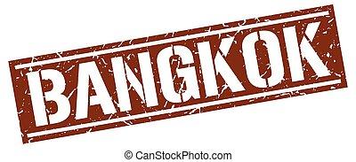 bangkok, marrom, quadrado, selo