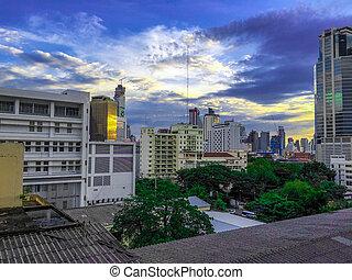 bangkok, miasto skyline, na, zmierzch