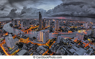 bangkok, na, zmierzch