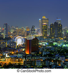 Bangkok night with Ferris Wheel.