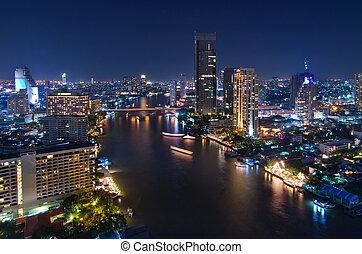 bangkok, nuit, viwe