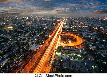 bangkok, opinión de la ciudad, con, tráfico