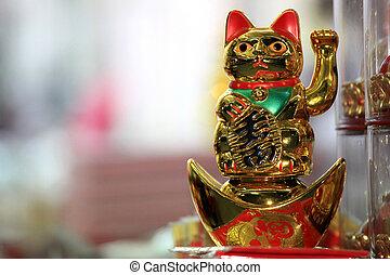 bangkok, oro, chino, 23, enero, año, -, nuevo, gato, ...