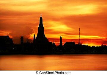 bangkok, pôr do sol