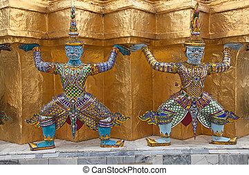 bangkok, palast, großartig, thailand