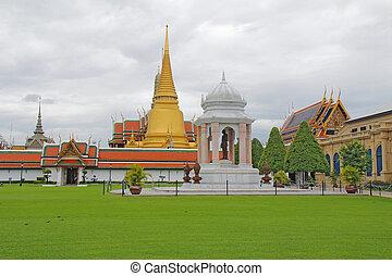 bangkok, palazzo, phra, complesso, grande, tailandia, wat, kaew