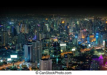 bangkok, panorama, de, ville, soir