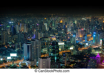 Bangkok, panorama of the city at night