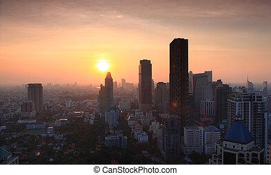 bangkok, panorama, tramonto