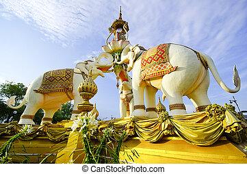 (bangkok, pedra, thailand), estátua, elefante
