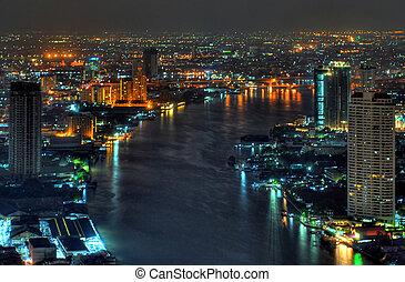 bangkok, phraya, río, chao