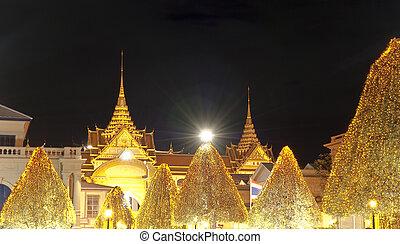 Bangkok, principal, Palácio, noturna, atração, tailandia,...