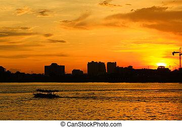 bangkok, río, ocaso, barco