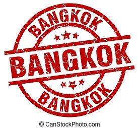 Bangkok red round grunge stamp