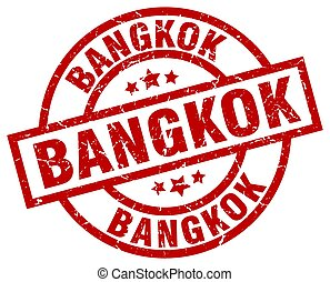 Bangkok red round grunge stamp