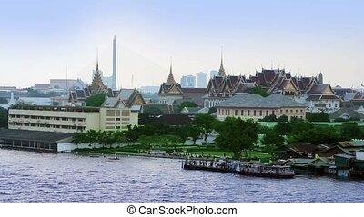 Bangkok river view from wat phraya. Grand palace is seen