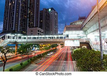 bangkok, scène rue, nuit