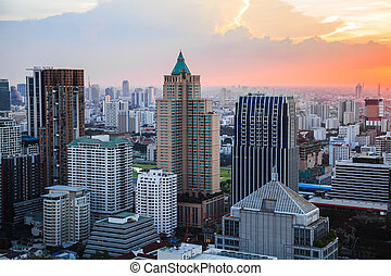 Bangkok skyline at dusk