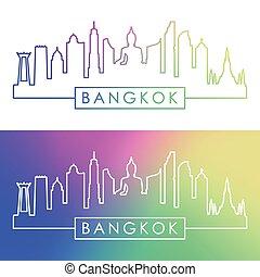 bangkok, skyline., barwny, linearny, style.