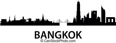 Bangkok Skyline - detailed vector skyline of Bangkok
