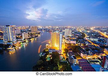 bangkok, skyline, op, schemering