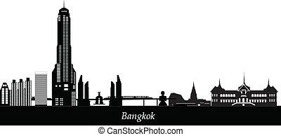 bangkok skyline with budha tower hotel metro and buildings