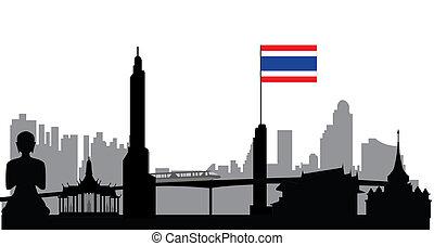 bangkok skyline with flag