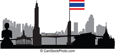 Bangkok skyline with Thai flag