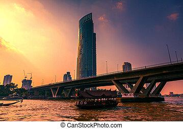 bangkok, sobre, pôr do sol