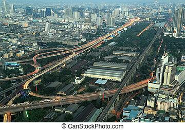 bangkok, sommet, autoroute, autoroute, vue