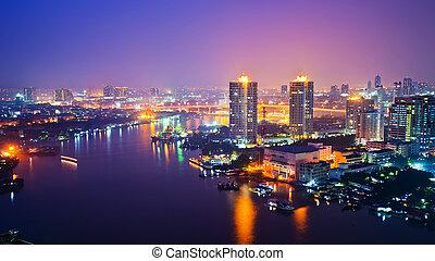 bangkok, stad scape, hos, nattetid