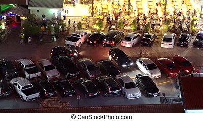 Bangkok street vendor and traffic at night from top view