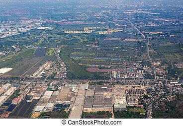 bangkok, subúrbio, sobre, vista aérea