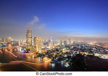bangkok, sylwetka na tle nieba, antenowy prospekt, na, zmierzch