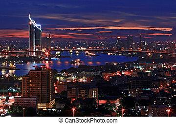 bangkok, sylwetka na tle nieba, na, zmierzch, górny prospekt