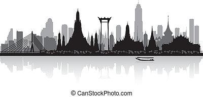 bangkok, tailandia, siluetta skyline, città